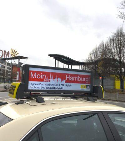 Moin Hamburg moderne Taxiwerbung bei Taxi-AD